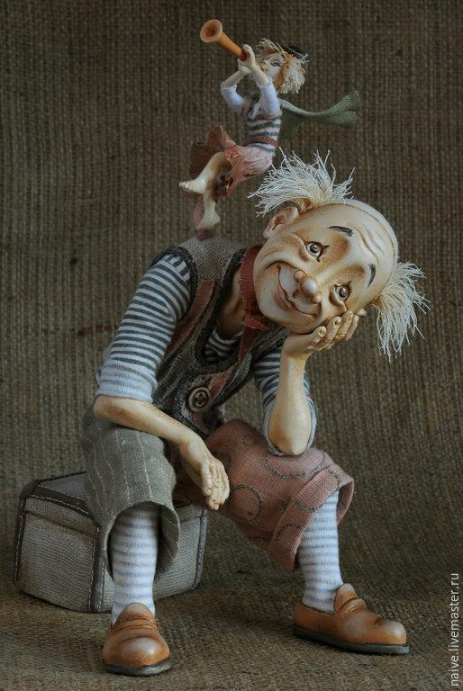 """Коллекционные куклы ручной работы. Ярмарка Мастеров - ручная работа. Купить """"Мечтатель (Клоун и его муза)"""". Handmade. Лепка, лён"""