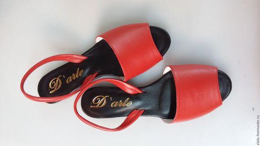 Обувь ручной работы. Ярмарка Мастеров - ручная работа. Купить БОСОНОЖЕК. Handmade. Ярко-красный, женские аксессуары, кожа натуральная