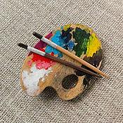 Украшения ручной работы. Ярмарка Мастеров - ручная работа Палитра. брошь. миниатюра. Handmade.