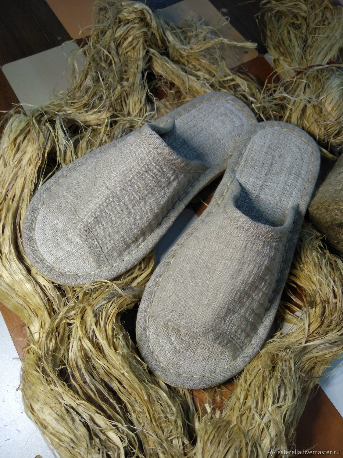 Homemade hemp slippers with an open nose, Slippers, Moscow,  Фото №1