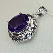 Украшения handmade. Livemaster - original item Silver pendant with amethyst 12h10 mm and cubic zirconia. Handmade.