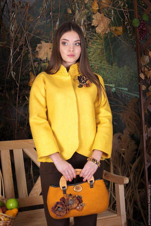 """Пиджаки, жакеты ручной работы. Ярмарка Мастеров - ручная работа. Купить жакет """" желтый - солнечный"""". Handmade. Жакет валяный"""