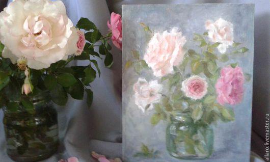 Натюрморт ручной работы. Ярмарка Мастеров - ручная работа. Купить Розовый букет.... Handmade. Бледно-розовый, натюрморт с цветами