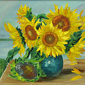 "Pictures handmade. Livemaster - original item Oil oil paintsflowers 50/60 ""Solar sunflowers"". Handmade."