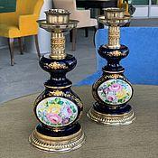 Винтаж handmade. Livemaster - original item Vintage table lamp base, cobalt (4998). Handmade.