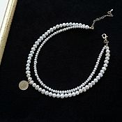 Украшения handmade. Livemaster - original item Pearl choker with coin. Multilayer necklace made of natural pearls. Handmade.