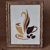 """Картины ручной работы. Ярмарка Мастеров - ручная работа Вышивка """"Чашка кофе"""".. Handmade."""