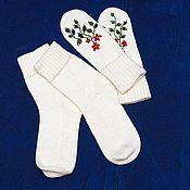 Аксессуары ручной работы. Ярмарка Мастеров - ручная работа носки розы на снегу. Handmade.