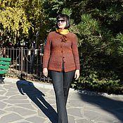 Одежда ручной работы. Ярмарка Мастеров - ручная работа Вязаный спицами тёплый  жакет Осень. Handmade.