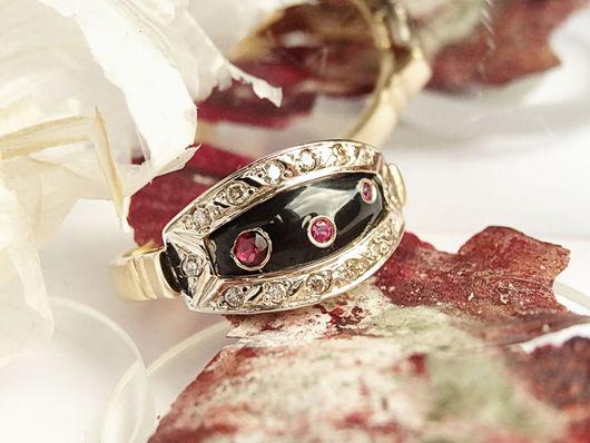 Кольца ручной работы. Ярмарка Мастеров - ручная работа. Купить Золотое кольцо с бриллиантами, рубинами и эмалью. Handmade. Черный