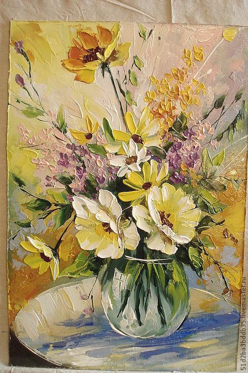 Картины цветов ручной работы. Ярмарка Мастеров - ручная работа. Купить хоровод цветов. Handmade. Желтый, картина для интерьера
