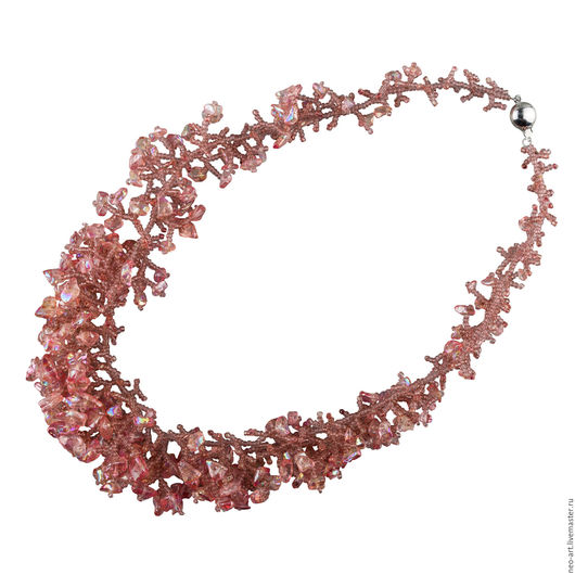 """Колье, бусы ручной работы. Ярмарка Мастеров - ручная работа. Купить Колье """"В розовом цвете"""". Handmade. Бисер и камни"""
