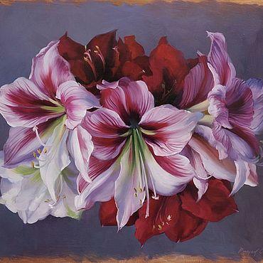 Картины и панно ручной работы. Ярмарка Мастеров - ручная работа Картина маслом «Лилии» 40/50см. Handmade.