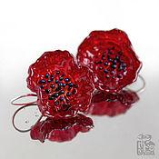 Украшения handmade. Livemaster - original item Earrings flowers Red poppy. Silver, lampwork glass. Handmade.