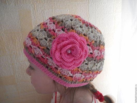 Одежда для девочек, ручной работы. Ярмарка Мастеров - ручная работа. Купить Весенняя шапочка. Handmade. Комбинированный, шапочка вязаная