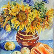 Картины и панно handmade. Livemaster - original item Oil painting. Sunflowers. Handmade.