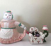 Винтаж ручной работы. Ярмарка Мастеров - ручная работа Коллекция чайники кошки фарфор. Handmade.