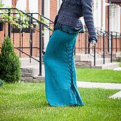 Одежда handmade. Livemaster - original item V_010 mermaid Skirt-Lite long with lace-up back, color emerald-black. Handmade.