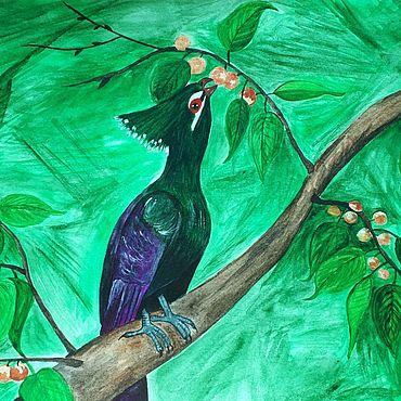 Картины и панно ручной работы. Ярмарка Мастеров - ручная работа Гвинейский турако в плодах фикуса. Handmade.