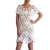 Одежда handmade. Livemaster - original item Beach crochet tunic long beach tunic knit top. Handmade.