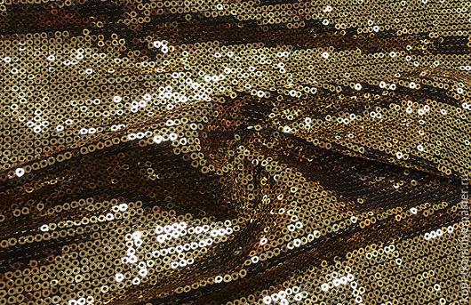 Шитье ручной работы. Ярмарка Мастеров - ручная работа. Купить Ткань с пайетками (золото на черном фоне). Handmade. Ткань, ткани