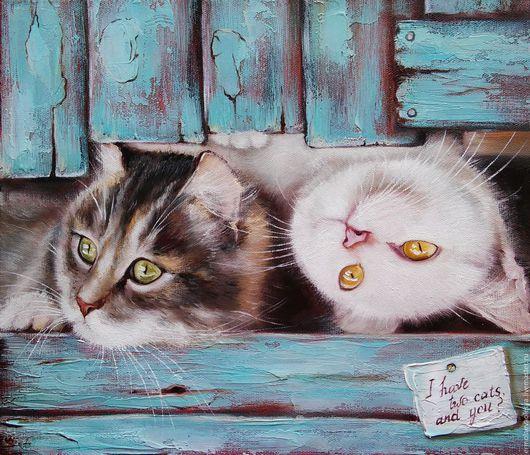 Картина с котиками ручной работы. Два кота. Ермолаева Олеся. Ярмарка  мастеров - картина маслом. Handmade.