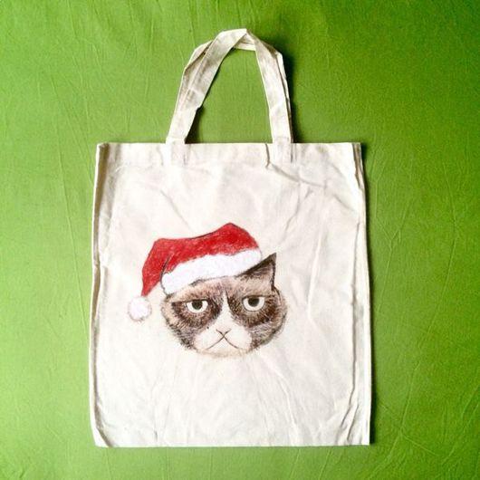 Сумки и аксессуары ручной работы. Ярмарка Мастеров - ручная работа. Купить Эко сумка Grumpy Cat. Handmade. Эко, подарок2016