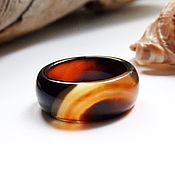 Украшения handmade. Livemaster - original item Ring of agate Magical sunset 17.75 R-R. Handmade.