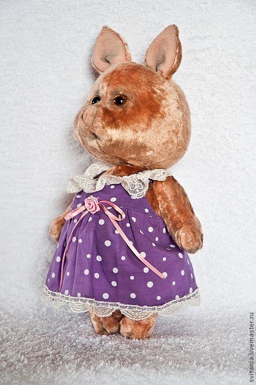 Мишки Тедди ручной работы. Ярмарка Мастеров - ручная работа. Купить Свинка Розочка. Handmade. Кремовый, плюш антикварный
