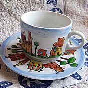 """Посуда ручной работы. Ярмарка Мастеров - ручная работа чайная пара """"Сказочный город"""". Handmade."""