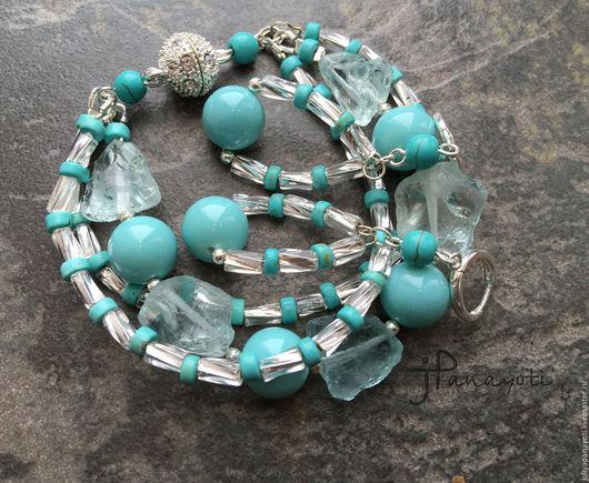 """Браслеты ручной работы. Ярмарка Мастеров - ручная работа. Купить браслет и серьги """"Blue Curacao"""". Handmade. Голубой, стразы"""