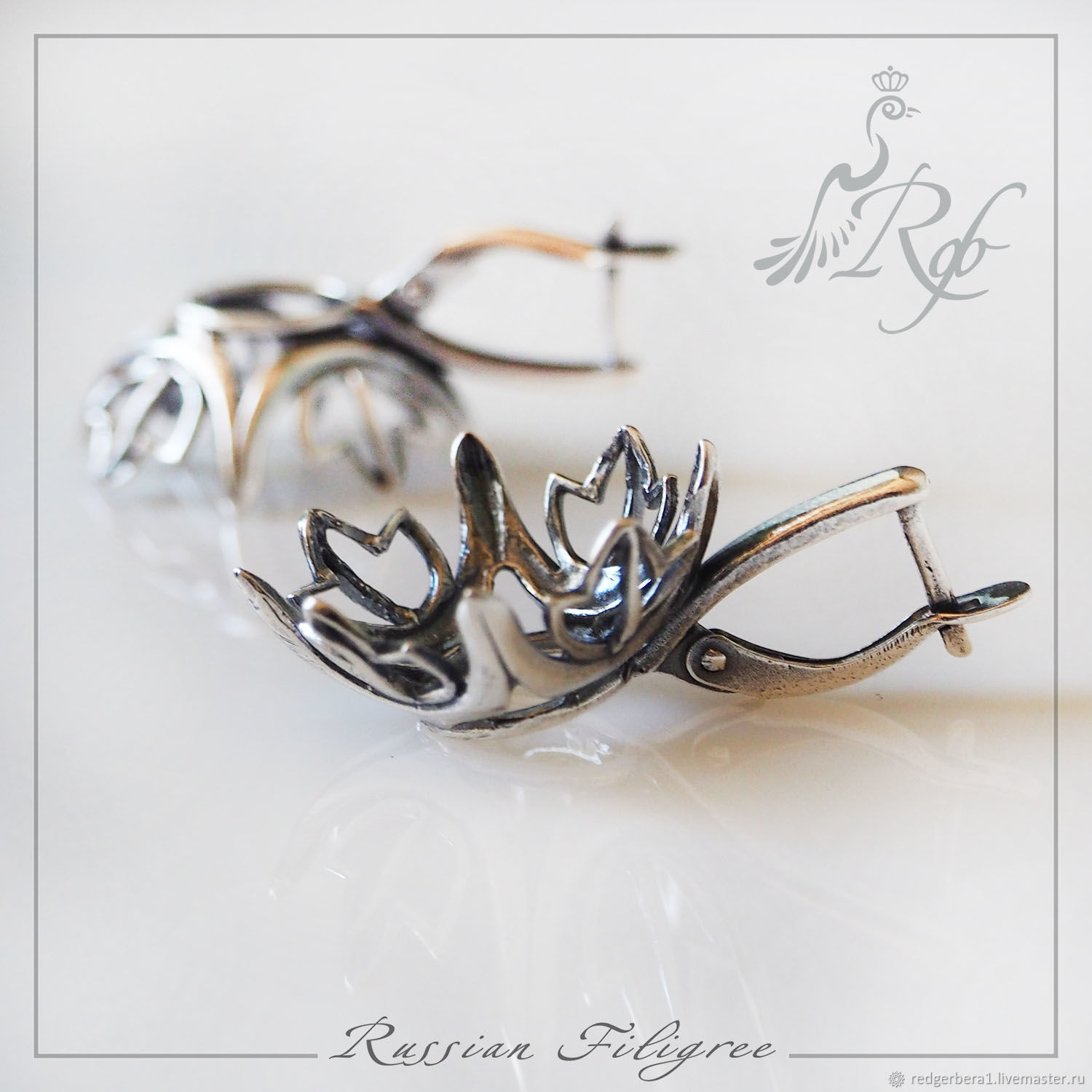 Basis for earrings 'juna' (14 x 14 mm), silver 925, Blanks for jewelry, Kostroma,  Фото №1