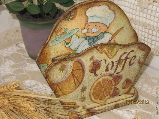 """Кухня ручной работы. Ярмарка Мастеров - ручная работа. Купить Салфетница """"Уютная"""". Handmade. Оранжевый, прованс, лак на водной основе"""