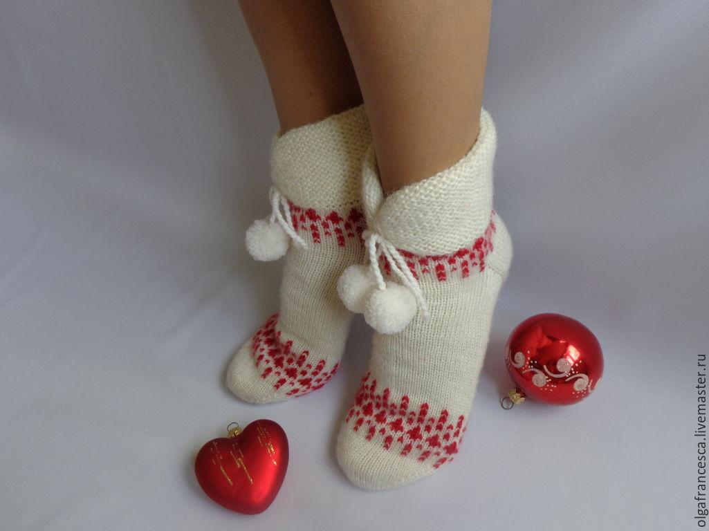 Носки вязать новогодние