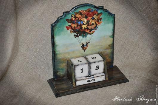 """Календари ручной работы. Ярмарка Мастеров - ручная работа. Купить Вечный календарь """"На воздушном шарике"""". Handmade. Комбинированный, лак"""