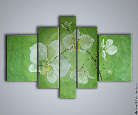 """Картины цветов ручной работы. Ярмарка Мастеров - ручная работа. Купить Модульная картина """"Тонкая орхидея"""". Handmade. Зеленый"""
