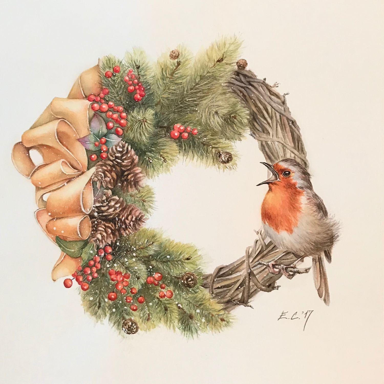 Открытки рождественские венки, открытки