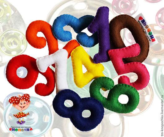 Развивающие игрушки ручной работы. Ярмарка Мастеров - ручная работа. Купить Цифры-магниты из фетра от 0 до 9. Handmade. Разноцветный