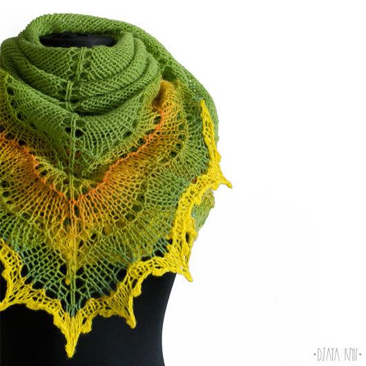 Шали, палантины ручной работы. Ярмарка Мастеров - ручная работа. Купить Шаль Фурия V (зеленый с желтым). Handmade.