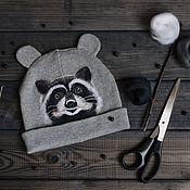 Работы для детей, ручной работы. Ярмарка Мастеров - ручная работа Шапка с енотом, войлочная шапка с енотом, войлочный енот. Handmade.