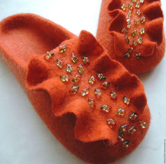 """Обувь ручной работы. Ярмарка Мастеров - ручная работа. Купить Тапочки валяные женские  """"Самоцветы"""". Handmade. Рыжий"""