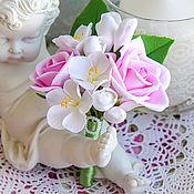 Свадебный салон ручной работы. Ярмарка Мастеров - ручная работа Свадебная бутоньерка жениха с розами. Handmade.