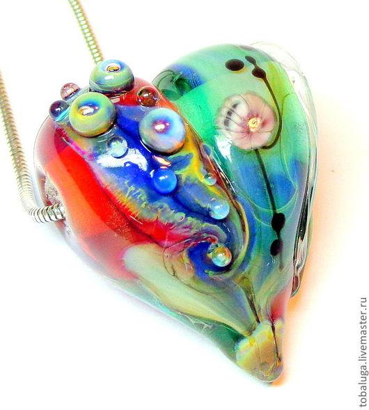 """Для украшений ручной работы. Ярмарка Мастеров - ручная работа. Купить Кулон """" Сердечко """" в технике lampwork. Handmade."""