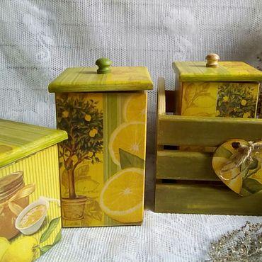 """Посуда ручной работы. Ярмарка Мастеров - ручная работа Набор для кухни """"Солнечный лимон."""". Handmade."""