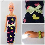 """Куклы и игрушки ручной работы. Ярмарка Мастеров - ручная работа Платье """"Сердечки"""" для куклы 27-30 см. Handmade."""