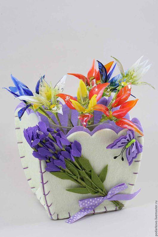 Цветы ручной работы. Ярмарка Мастеров - ручная работа. Купить Стеклянные цветы. Handmade. Комбинированный, подарок, 8 марта
