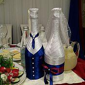 """Свадебный салон ручной работы. Ярмарка Мастеров - ручная работа Декор свадебных бутылок""""Жених и невеста"""". Handmade."""