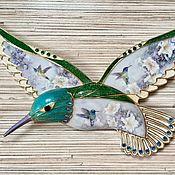 Винтаж ручной работы. Ярмарка Мастеров - ручная работа Lena Liu , Лена Лю , фарфоровое панно Колибри от Bradford. Handmade.