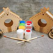 Для дома и интерьера ручной работы. Ярмарка Мастеров - ручная работа Набор кормушек для росписи с красками и кистями  «Малыши». Handmade.