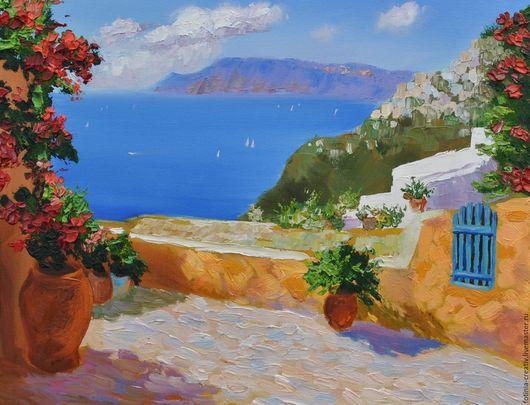 Пейзаж ручной работы. Ярмарка Мастеров - ручная работа. Купить Солнечная Греция. Handmade. Масло, картина в подарок, разноцветный